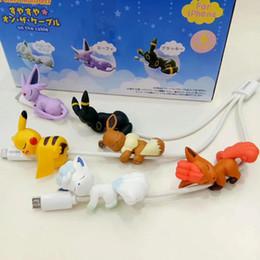 juguetes de enredo Rebajas 6 unids / set Cute Anime pkm Figuras en el Cable o la Copa Figuras de Acción Modelo de Juguete Decoración de Coche Regalos Protectores de Cable