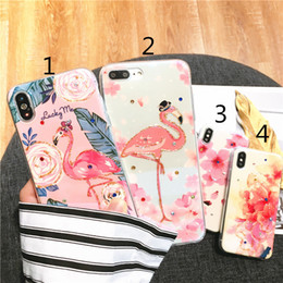 Wholesale diamond flower phone cases - Phone Case For iPhone X 8 7 6 6s Plus Glitter Diamonds Blu-ray Lotus Flower Flamingo Painted Cover Cases For iPhone 8