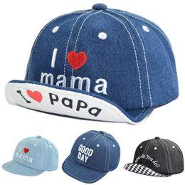 Eu amo mamãe papa boné denim letra mama bom dia como você faz chapéus  crianças bola caps presente de natal drop ship 010090 5fad837d466