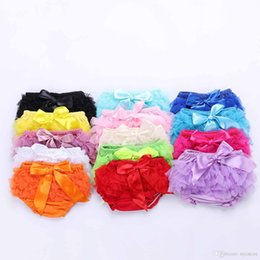 Wholesale Wholesale Chiffon Bloomers - Lovely Baby Ruffles Chiffon Bloomer Tutu Infant Toddler Cotton Silk Bow Skirt Shorts Kids Layers Skirt Diaper Cover Underwear PP Shorts