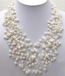 Ожерелье из жемчуга золота онлайн-Подлинная белая жемчужина детское дыхание кластера звезды белое золото покрытием Застежка ожерелье