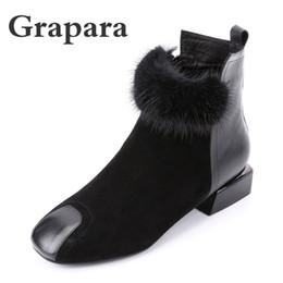 f0099325 Nuevo Sólido Negro Flock Botines Mujer Zapatos Mujer Short Plush Mujeres  Botas Moda Bajo Tacones Invierno Botas Mujer Grapara