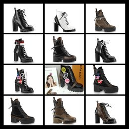 snow boots long high Promo Codes - 2018 high heels Half boots leather Red LACES Increase the height Hot design Above knee long barrel pointed rivet 35-41