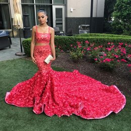 Wholesale Girls Floral Dress Size 12 - Hot Pink Floral Sequins Two Pieces Mermaid Prom Dresses 2018 African Black Girl Luxury 3D Rosettes Cathedral Train Prom Gowns Custom Made