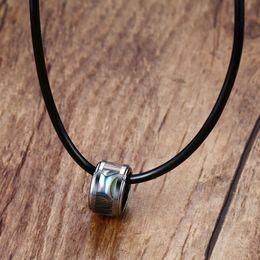 Collar de abulón negro online-Mens Gargantilla de carburo de tungsteno incrustaciones de abulón Shell colgante negro caucho cuerda de cuero collar de joyería de moda