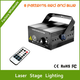 Wholesale Laser Projector Dance - DHL Free shipping new modell red Blue 8 patterns laser projector blue led Remote Stage DJ lighting Dance Show disco Party Show