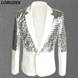 Wholesale Rock Stage - Nightclub Bar Male singer Rock DJ costumes White sequins Tide Men's Suit Jackets Prom Party Host stage show Outfit coat costumes