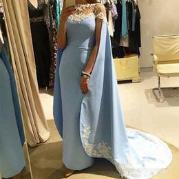 robe de cordon Promotion Light Blue Blue Fashion Gaine Robes de bal avec cape / Wraps à la main Appliques femmes formelle robes de soirée perles perles robes de fête africaine