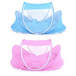 Wholesale Pink White Crib Bedding - 4pcs Set Baby Crib Sets Baby Mosquito Net Portable Folding Type Comfortable Infant Pad with Sealed Mosquito Net Bedding