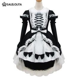 Filles robes de fantaisie noir blanc en Ligne-Japonais Filles Lolita Classique Festival Festival Déguisement Doux Cosplay Noir Et Blanc Princesse Lolita