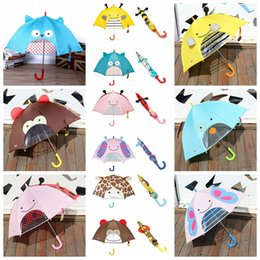 Wholesale cartoon kids umbrellas - 7 Colors children kids 3D cartoon ear umbrella long handle sun rain protection lovely Children's umbrellas GGA700 6pcs