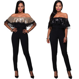 Wholesale sequin jumpsuits for women - 2018 Black Long Pants Fashion Sexy Ruffle Skinny with Sequins Jumpsuits for Woman