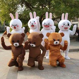 Wholesale High Quality Rabbit Costume - 2018 High quality hot Lovely brown bear and Rabbit mascot costume bear cartoon costume