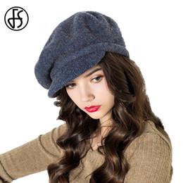 Wholesale French Hats Beret - FS Vintage French Beret Hats For Women Winter Wool Felt Cap Navy Blue Knit Berets Hat Chapeu De Feltro Feminino