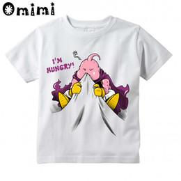Wholesale Kid Buu - Kids Anime I'm Hungry Buu 3D Effect Design T Shirt Boys Girls Casual Tops Children's Summer White Cute Animal T-Shirt