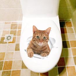 arte de la pared pegatinas gatos Rebajas Hole View Vivid lovely Cats Dog 3D Etiqueta de La Pared Baño Inodoro Sala de estar Decoración de la Cocina Animal Vinyl Decals Art Sticker