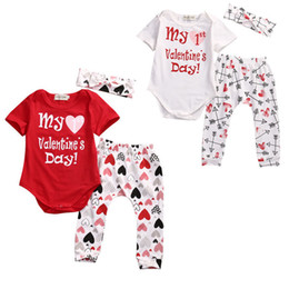 Wholesale Love Cute Baby Boy - 2017 Valentines Day Baby Boy Girls Clothes my Valentines Day letter Love Heart Red Romper Pants Cute Headband Outfits Set US