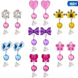 caja de regalo bebé cristal Rebajas 7 pares = 1 caja de color Crystal niños Baby Girl pendientes Kids Pink Jelly Beads clip de oreja en los pendientes perforados Jewelry Party Gifts