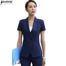 Wholesale Office Fashion Wear - Professional set female stripe pants suits summer Formal fashion short sleeve slim blazer with pant office ladies work wear