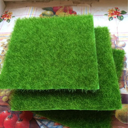 Wholesale artificial lawn grass - Artificial Grass Lawn 15*15cm fairy garden miniature gnome moss terrarium decor resin crafts bonsai home decor for DIY Zakka