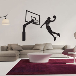 Pegatina removible de baloncesto online-Caliente Diseño Moderno Dunk Jugador de Baloncesto Decoración de La Pared Calcomanías de Vinilo Pegatinas Extraíbles Arte Etiqueta Inicio Dormitorio Decoración