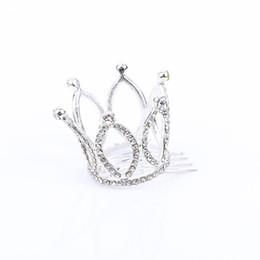 Wholesale rhinestone mini tiara - Cute Girls Mini Rhinestones Crown Tiara Hair Combs Kids Princess Hair Accessories Headwear