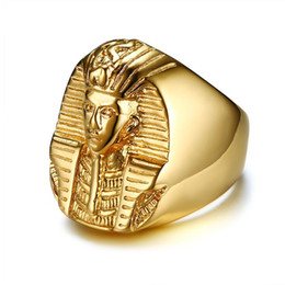 Goldton edelstahl ringe online-Pharao Shaped Ringe für Männer Gold Ton Edelstahl Rock Punk Alten Ägypten Männlichen Fingerring Zubehör