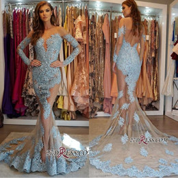 Manga vestidos de fiesta netos online-Zuhair Murad 2019 Nude Net Manga larga Vestidos de noche Crew Sheer Neck Applique Abalorios Crystal Prom Dress Plus Size Celebrity Dresses