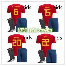 Wholesale Kids Socks Free Shipping - new 2018 World Cup Spain Soccer Jersey Kit +socks 2018 Spain Home Red Soccer Jerseys KIDS Soccer Shirts uniforms Free shipping