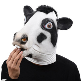 animal fancy dress accessories Promo Codes - Halloween Full Face Overhead Funny Cosplay Masquerade Fancy Cow Mask Dress Up Latex Carnival for Party Mask