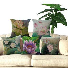 "Wholesale File Car - Square 18""Cotton Linen Lotus Flowers Decorative Sofa Throw Cushions Car Seat Pillows No Filing Home Decor P1003"