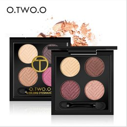 Wholesale women make up gift set - O.TWO.O 4colors set Palette Eyeshadow with Double Edge Brush Make Up Eye Shadow For Women Girl Gift Palette 8 Styles Professional Makeup
