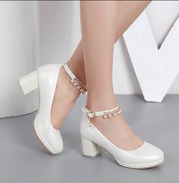 Wholesale Medium Documentary - Fall 2018 New beaded strap a word sweet princess shoes documentary shallow mouth female round head thick with women's shoes