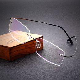 Trasporto libero 100% pure titanium occhiali da vista marca montature da vista degli uomini donne montature per occhiali telaio ottico occhiali da vista cheap titanium rimless prescription glasses da occhiali da vista senza cornice in titanio fornitori