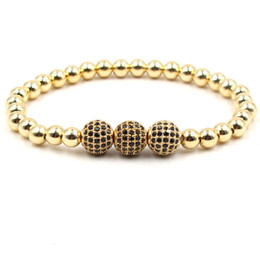10c3e23e2f1f Charm Bead Bracelet CZ Zircon Pave Copper Ball Cuerda trenzada Hombres  Mujeres Joyería de lujo Macrame Color ajustable Oro CZ Zircon Pulsera oro  pave ...