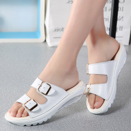 9d87d202bff1 2018 Casual Women s Sandals Genuine Leather Summer Flats Shoes Women  Platform Wedges Female Slides Beach Size 35-42