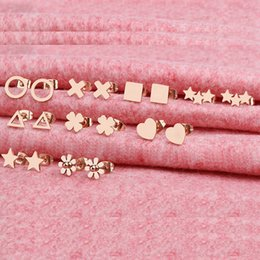 Wholesale clover diamond earrings - Titanium steel girls earrings simple wild earrings rose gold mini clover exquisite jewelry designer earrings kendra scott kendra scott