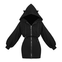 Черный кот уха балахон онлайн-Kawaii Hoodie Harajuku Long Sweatshirt Women Black Punk Gothic Hoodies Hoody Ladies Zip-up 2018 Autumn Cute Ear Cat Hoodies