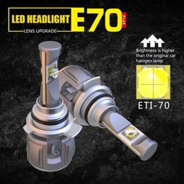 bmw e46 ampoules Promotion 1 Set 9012 HIR2 ETI-70 LENS Puces E70 LED Phare De Voiture Avant Phares Ampoules 120W 12000LM Turbo Ventilateur Réglable Faisceau Blanc 6000K Brillant