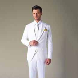 maglia elegante degli uomini Sconti Elegante bianco abiti da sposa per uomo formale risvolto degli uomini con visiera giacca matrimonio prom blazer sposi smoking 3 pezzo (cappotto pantaloni della tuta)