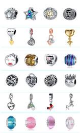 Gafas online-Comercio al por mayor 30 Unids Tema Mixto 925 Sterling Silver Murano Glass Esmalte Colgante de Cuentas de Oro Del Encanto Fit Pandora Charms Pulsera Diy Jewelry Making