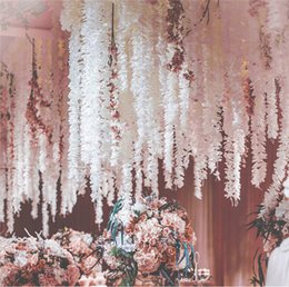 Wholesale hanging flowers string - 20PCS 200CM Artificial Hydrangea Orchid Wisteria Flower String For DIY Simulation Wedding Arch Square Rattan Wall Hanging Basket