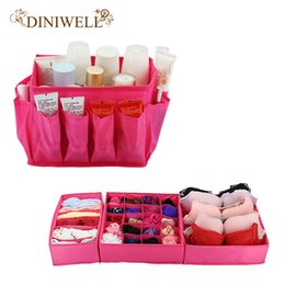 Wholesale Desktop Storage Containers - DINIWELL Desktop Makeup Cosmetic Storage Boxes + 3PCS Underwear Socks Bra Tie Storage Box Organizer Container