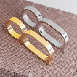 Wholesale ring double silver - Double Finer Rings Silver Gold Motorcycle Knuckle Ring Fashion Jewelry for Women Men Hip Hop Drop Shipping