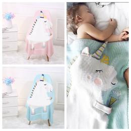 Wholesale newborn crib bedding - Kids Newborn Unicorn Blankets Baby Cartoon ins Animal Crochet Knitted Bed Air Conditioning Napping Wool Throw Blanket MMA275 12pcs