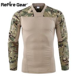 2019 engranaje de camuflaje ReFire Gear Camouflage Army Tactical T shirt Hombres camiseta de manga larga Combat T-Shirt Camisa stretch de algodón Camo Paintball engranaje de camuflaje baratos