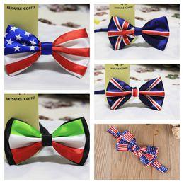 Wholesale British American Flags - Men Bow Ties Butterfly American Flag British flag Gentleman Wedding Party 5 Colors Adjustable Wedding Prom boe tie FFA062
