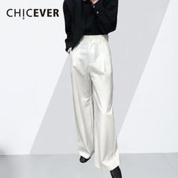 CHICEVER 2018 Pantalones de primavera para mujeres Pantalones anchos  femeninos Bolsillo de cremallera de cintura alta mujer Pantalones sueltos  grandes de ... 424dee812d4