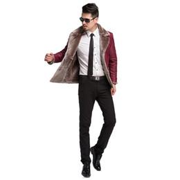 Wholesale men s leather parkas - Winter Men Leather Jacket Men's Parka Casual Fashion Faux Leather Jackets coat Lapel Faux Fur male Quality Coat