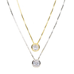 charms solitaire Promo Codes - 2018 latest single stone necklace fine delicate box chain 925 sterling silver bezel 5mm Sparking cubic zirconia simple jewelry